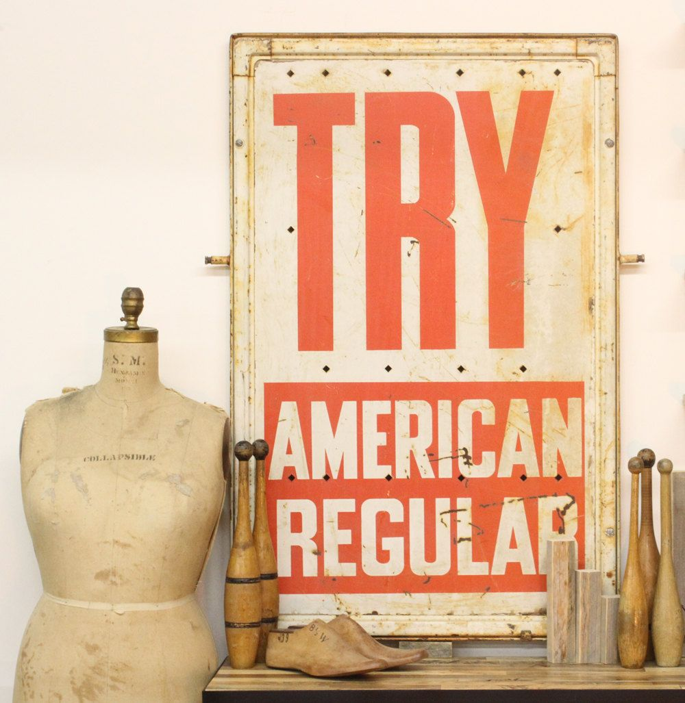 Vintage original try american regular gas station sign via - Mobiliario vintage industrial ...