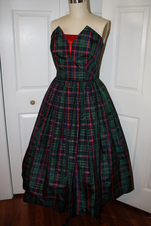 61529bb79ea5 50s Style Plaid Taffeta Strapless Holiday Christmas Party Dress- Red Bust  Detail & Sash- Designer SAMPLE Ready To Ship. $150.00, via Etsy.