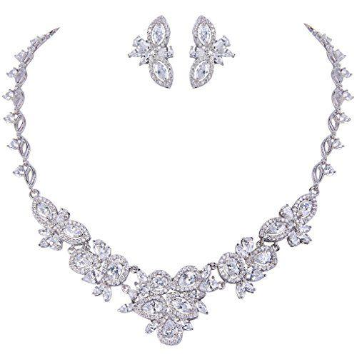 2672024fff07 EVER FAITH Women s Graceful CZ Marquise Shape Leaf Cluster Necklace ...