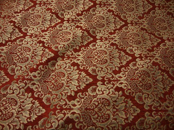 Ruby Cleopatra Chenille Fabric Gold Damask Print