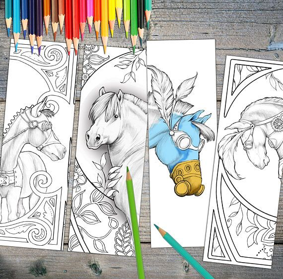 Instant Download Bookmarks Coloring Horse Designs Printable Print