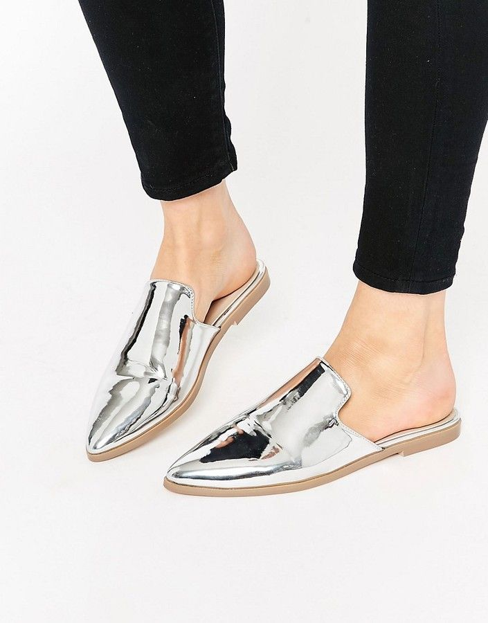 Asos Montana Pointed Flat Mules Shoes Mules Shoes Flat