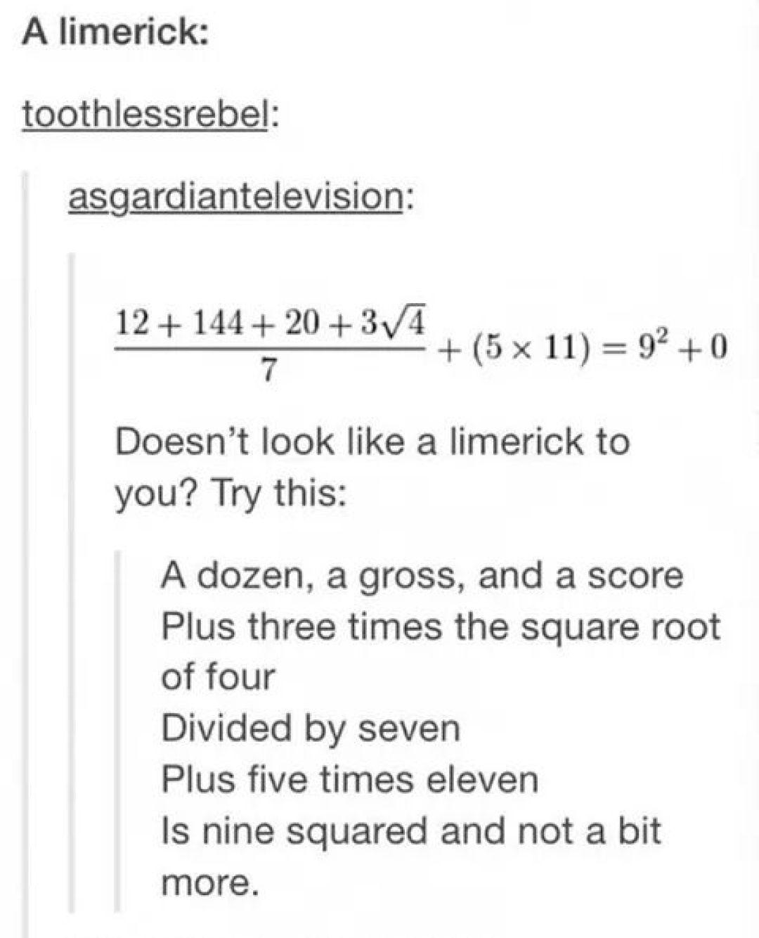A Dozen A Gross And A Score Plus Three Times The Square