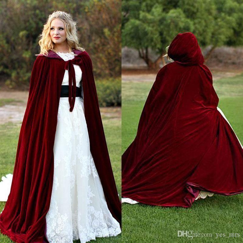 Custom made 2017 New Hooded Bridal Cape Burgundy Velvet Christmas ...