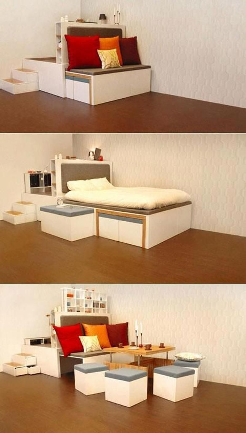 Multipurpose sofa cum bed small spaces pinterest tiny houses small spaces and spaces - Futon beds for small spaces pict ...