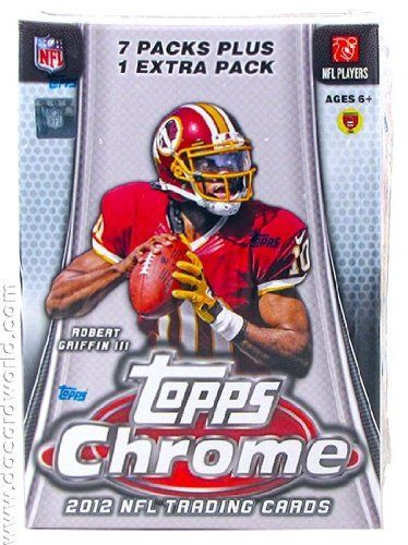 2012 Topps Chrome Football 8-Pack Box by Chrome. $33.95. (1) Rookie Card In Every Pack! Featuring On-Card Rookie Autographs! Find randomly inserted Refractors! Key Rookie Cards: Robert Griffin III, Andrew Luck, Justin Blackmon, Trent Richardson, Brandon Weeden, Ryan Tannehill, Melvin Ingram, Michael Floyd, Morris Claiborne. 8 Packs Per Box, 4 Cards Per Pack