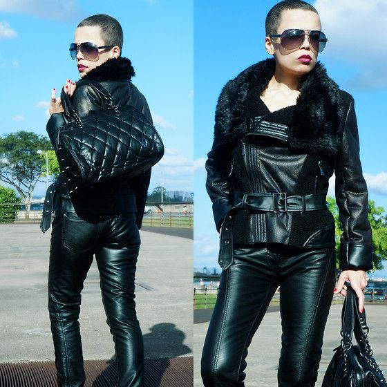 Priscila Diniz - Leather Pants, Leather Jacket, Aviator Sunglasses, Riveted Bag Similar Here > - Don´t care face