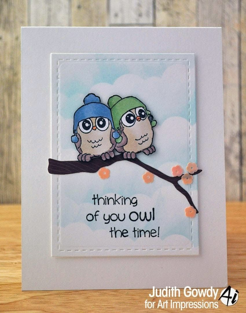 Five Whoots Set 4128 From Art Impressions Handmade Owl Card