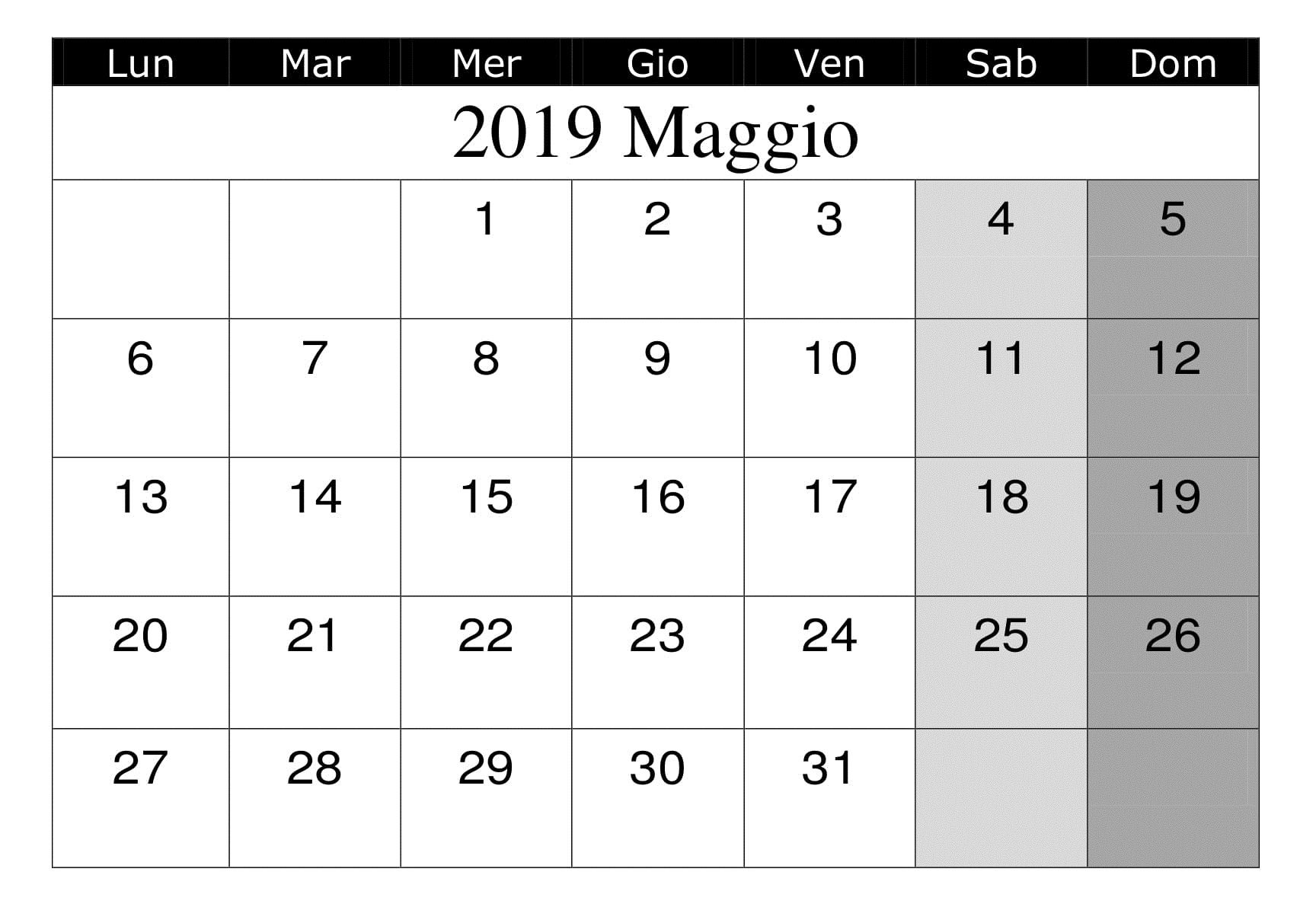 Calendario Maggio 2020 Da Stampare.Maggio 2019 Calendario Da Stampare Modello Calendario