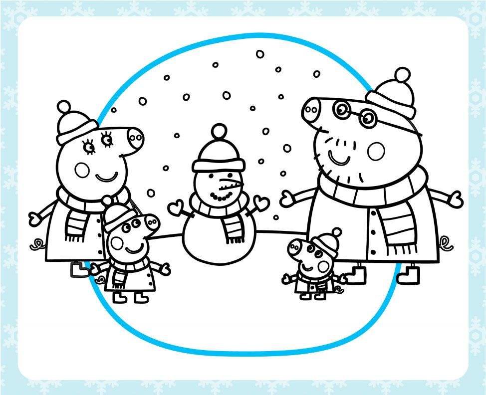 stay warm with a printable peppa pig winter coloring pack