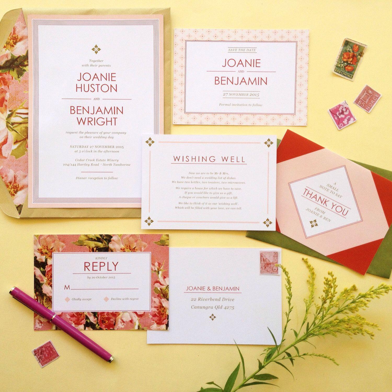 Bright Floral Modern Wedding Invitation // JOANIE // SAMPLE PACK by BeverleyandYork on Etsy https://www.etsy.com/listing/224387941/bright-floral-modern-wedding-invitation
