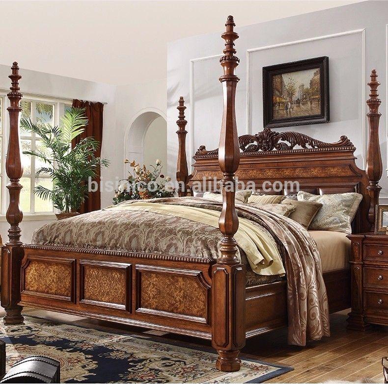 Lujo cl sico americano dormitorio de madera maciza tallada - Dormitorios en madera ...