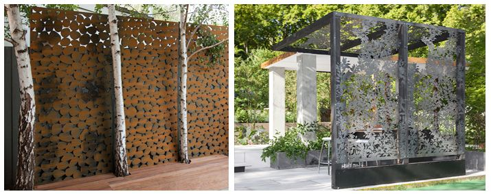 Privacy screen metal installations by metalwallart for Outdoor metal privacy screens