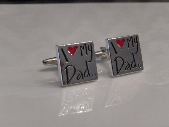I Love My Dad Cufflinks Husband Cufflinks Men's by BrooklynYards, $20.00