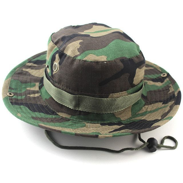 ff23ddcc3 Military Camo Bucket Hat with Strings Camping Hiking Travel Sniper ...