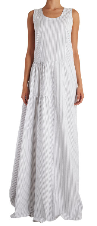 Pinstriped Sleeveless Maxi Dress