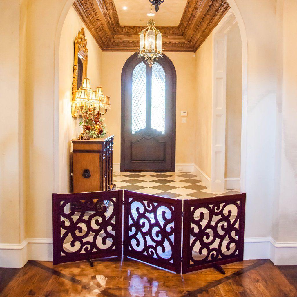"Classic Designer Wooden Pet Gate 27"" Wooden pet gate"