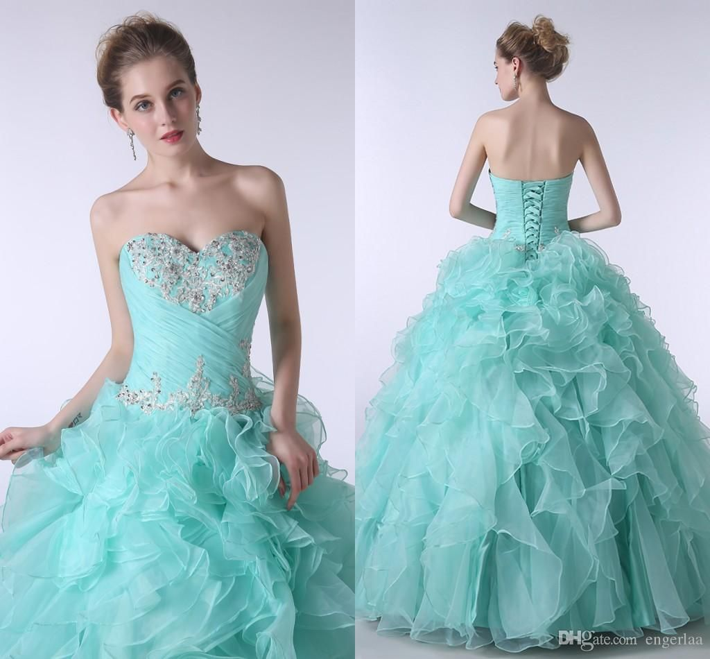 2015 Lovely Ice Blue Quinceanera Dresses Beaded 16th Party Gowns ...