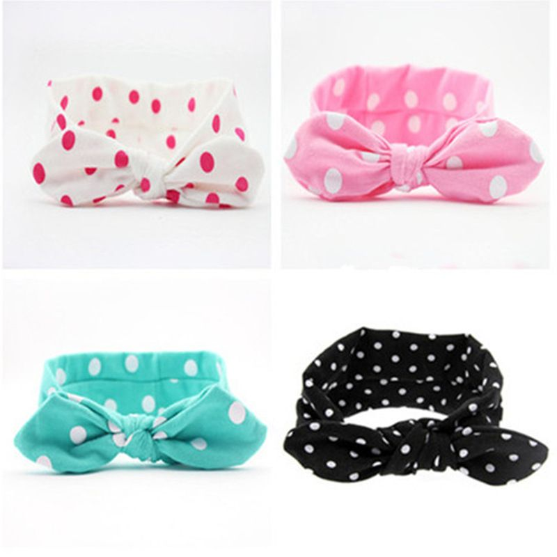 Fashion Dot Children Baby Floral Hairband Turban Rabbit Bow knot Headband Headwear Hair Bands Hair Accessories Wholesale #Affiliate