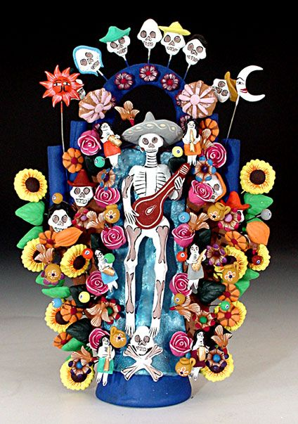 Mexican decor: folk art: tree of life with day of the dead theme