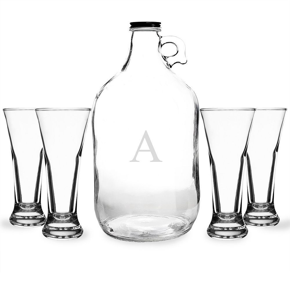 Cathy's Concepts Monogram Craft Beer Growler and Tasters Set, Multicolor