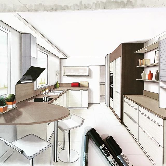 Kitchen Design Arch: ️ #draw #drawing #arquitetapage #arch_more #arch_sketch