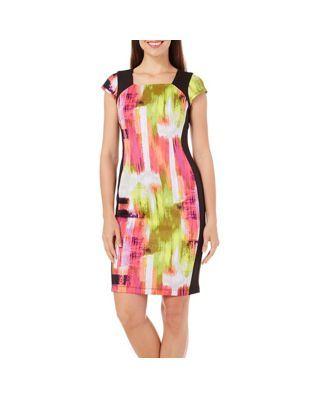 Rabbit Rabbit Womens Fuchsia Print Sheath Dress