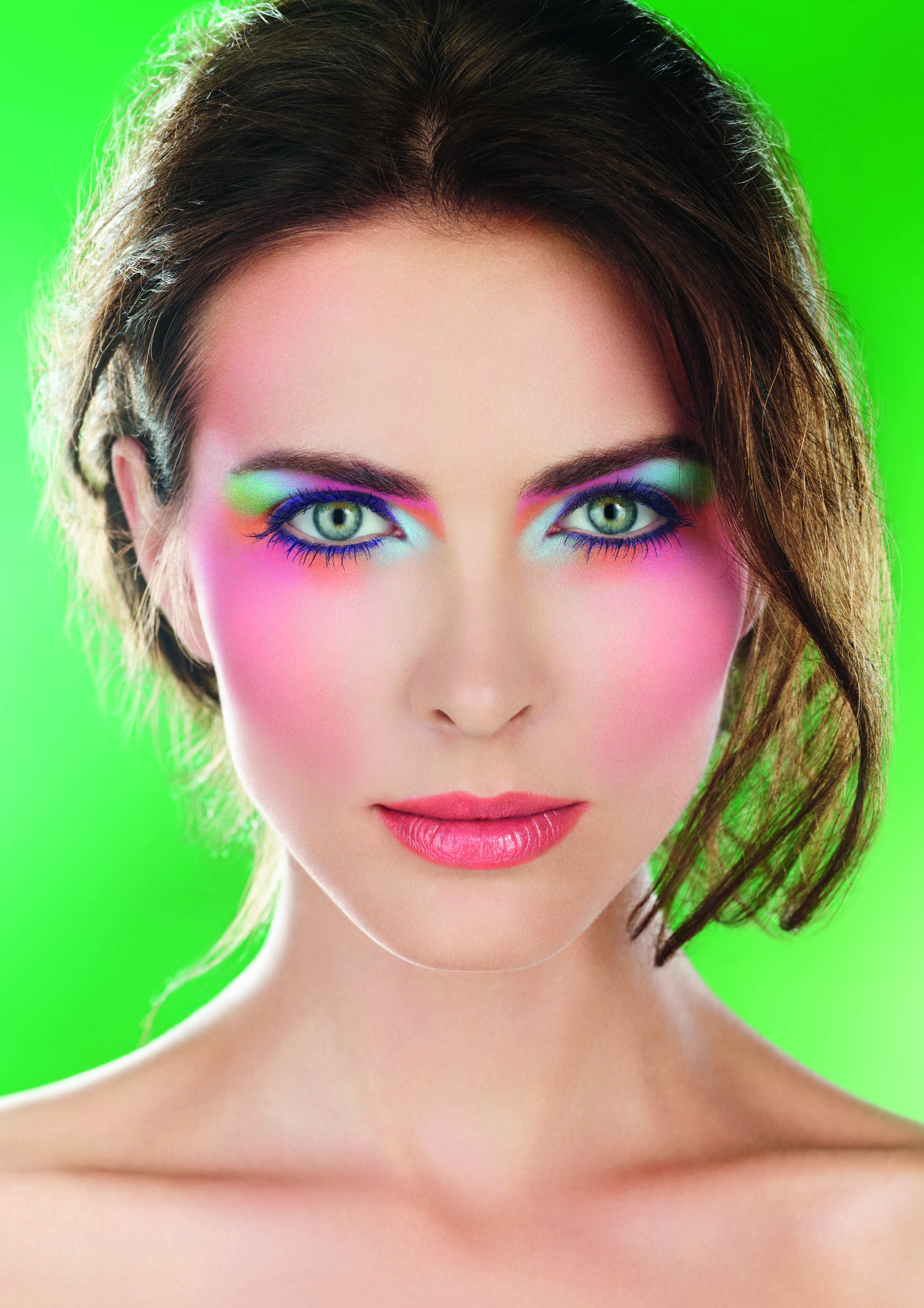 A model wearing eye colours from Make Up For Ever's Arty Blossom Spring 2014 collection