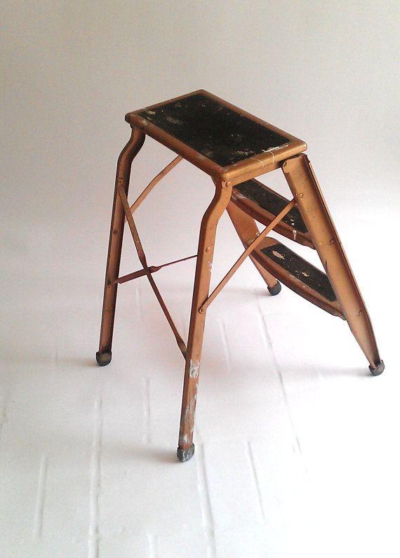 Vintage Step Ladder Stool Industrial Bronze Metal 3 Step