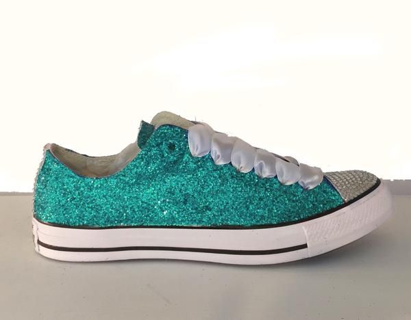 1a82de3aef0b0a  15 OFF with code  PINNED15 Women s Sparkly Teal Glitter   Crystals  Converse All Stars wedding bride bridal Shoes