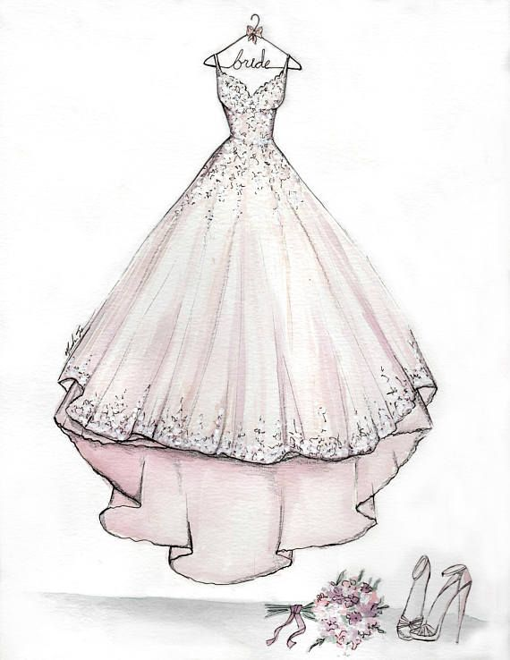 e4a0ec3020 Custom Bridal Dress Illustration -Wedding Gift-Anniversary Gift-Mother s  Day Gift-Wedding Dress Sket