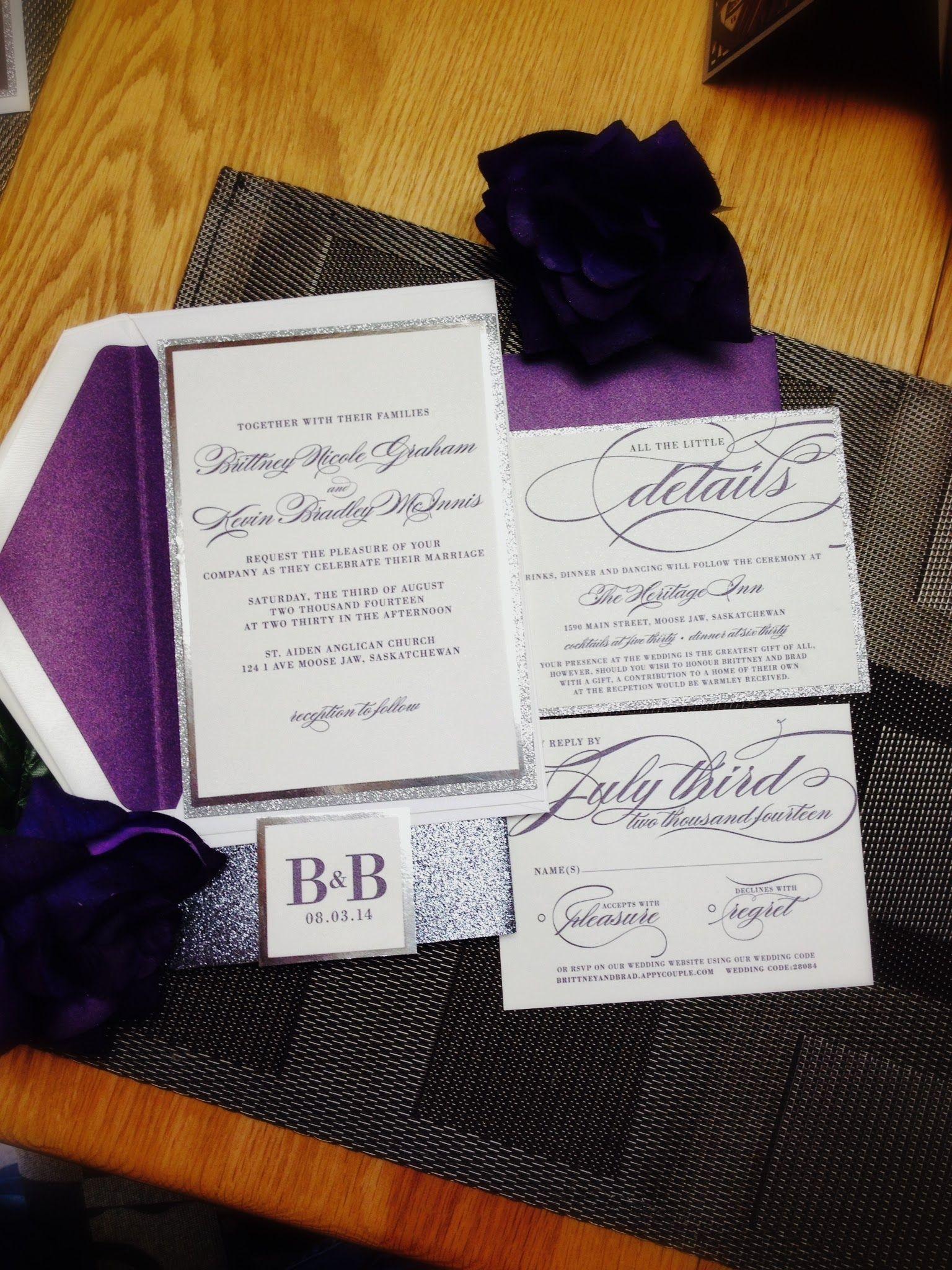 Our Invitations: Purple, Silver & Sparkle | Weddingbee Photo Gallery ...