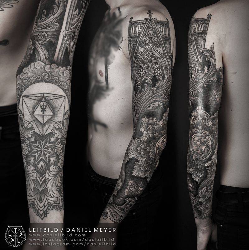 Cathedral Sleeve Various Healing Stages By Daniel Meyer Via Leitbildwww Dasleitbild Comwww Leitbild Tumblr Comwww Tattoo Designs Men Cathedral Tattoo Tattoos