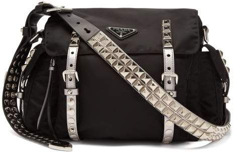 Prada - New Vela Leather Trimmed Cross Body Bag - Womens - Black Silver Hermes  Handbags c24b50732