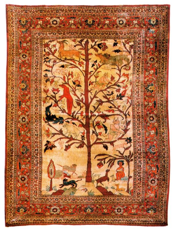 Antique Silk On Heriz Persian Carpet Circa 1875