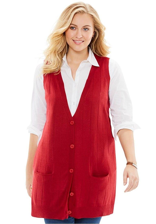 Womens Plus Size Fine Gauge Long Sweater Vest Charcoal Heather