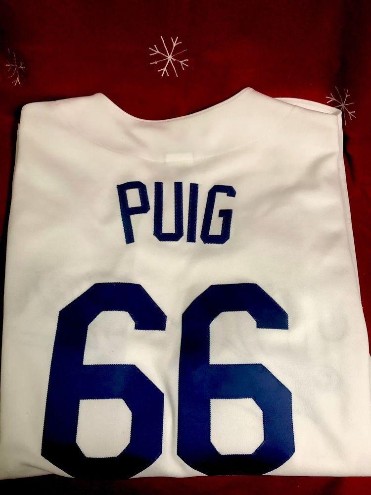 Majestic Men s Medium MLB Los Angeles Dodgers Yasiel Puig  66 White Jersey    32.99 End bc4b01af980