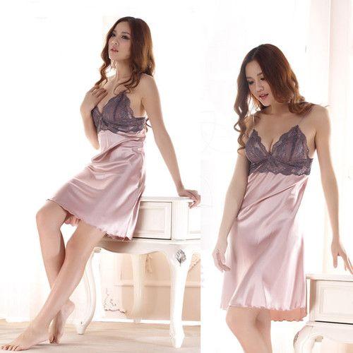 79e617b10d6 Korean Womens Girls Imitated Silk Nightdress Lace Lingrie Sleepwear Robe  Pajamas