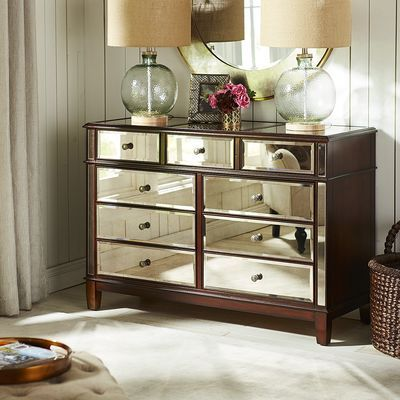 Hayworth Mirrored Dresser Tobacco Brown Furniture Dresser