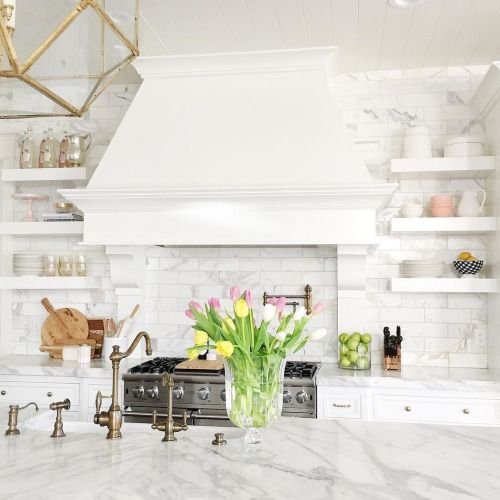 Decorating Smallspace Kitchen: Marble Subway Tile In Kitchen With Floating Shelves And