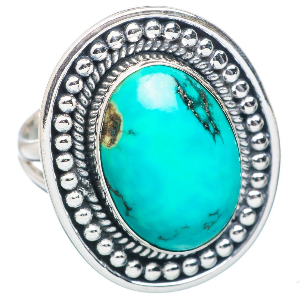 Tibetan Turquoise 925 Sterling Silver Ring Size 8.5 RING738507