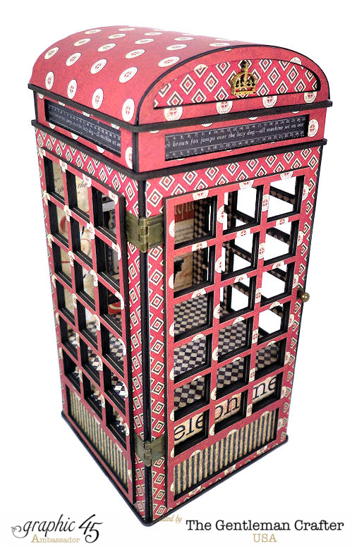 An incredible handmade telephone booth with Communique by Jim, the Gentleman Crafter with hidden surprises inside! #graphic45