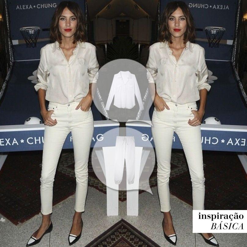 Que tal esse look all white da #AlexaChung? Nós amamos a combinação!  #mybasiclook #calçachile #camisabonaire