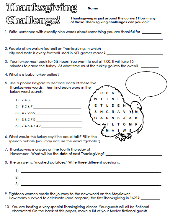 Free Thanksgiving Math Worksheets For 6th Grade Download Them