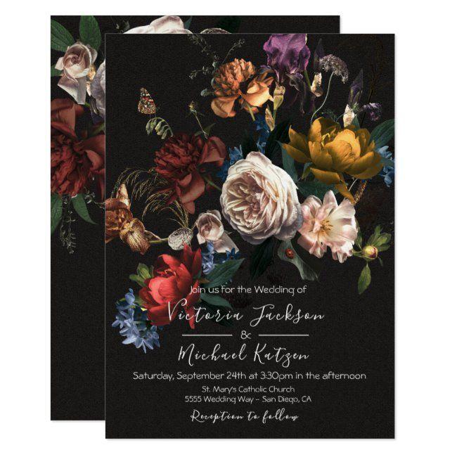 Rembrandt Floral Dark & Moody Wedding Invitation   Zazzle.com