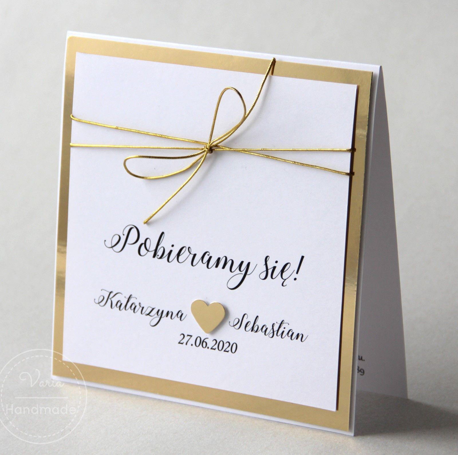 Lustrzane Zaproszenie Na Slub Ze Zlotym Sznurkiem Creative Wedding Invitations Wedding Invitations Invitations