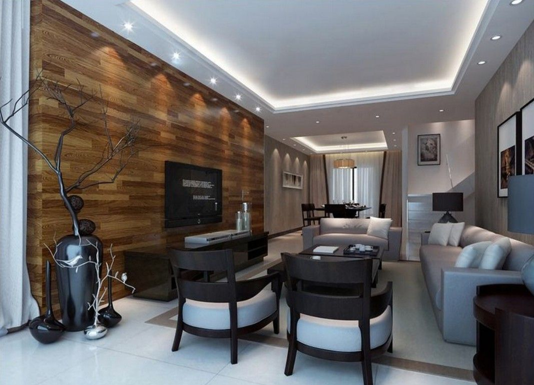 wonderful modern style living room | Solid Wood Tv Wall Design Living Room Hidden Ceiling Lamps ...