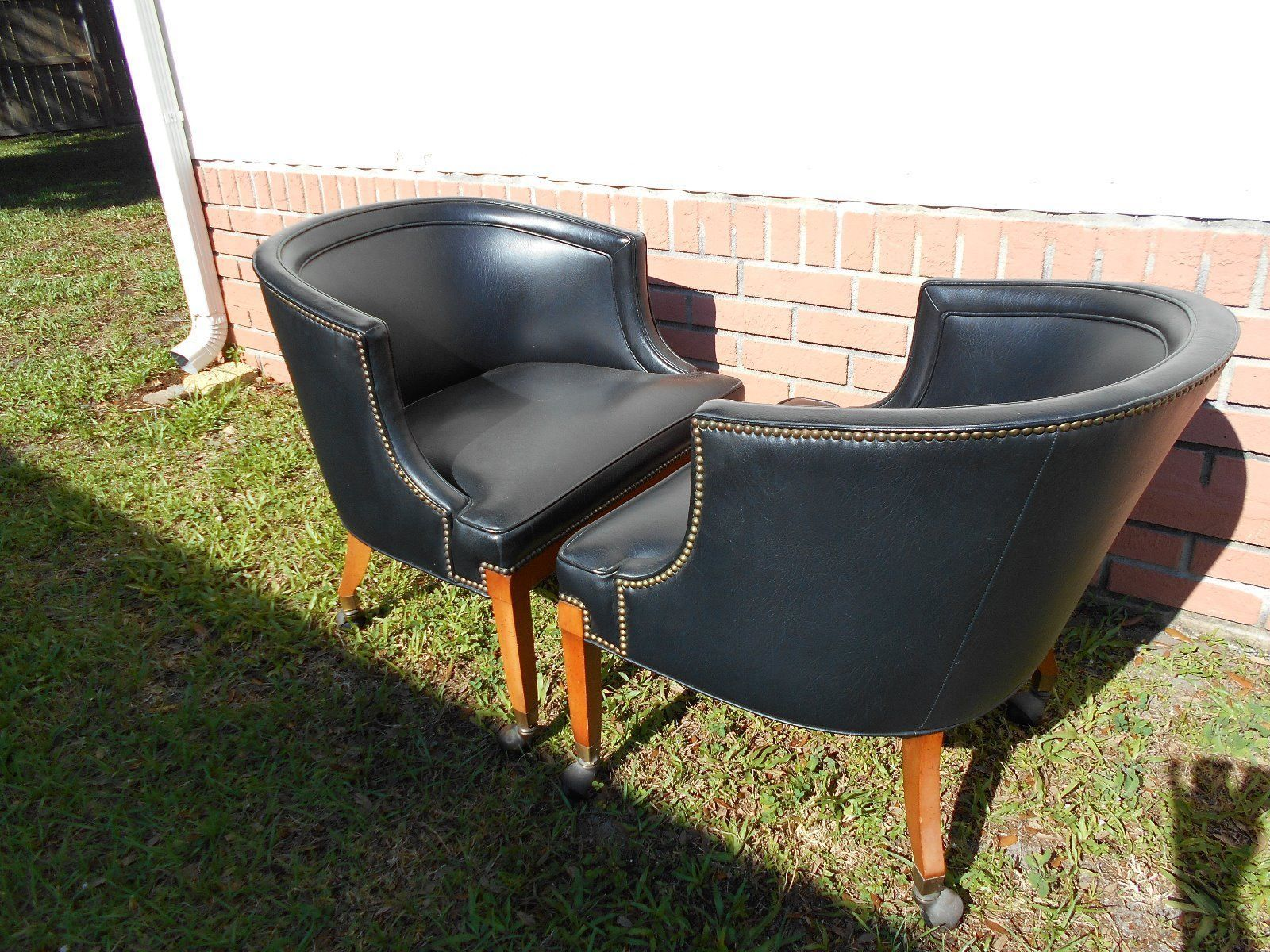 Pair Of 70s Vintage Mid Century Black Faux Leather Barrel Club Chairs On  Casters | EBay