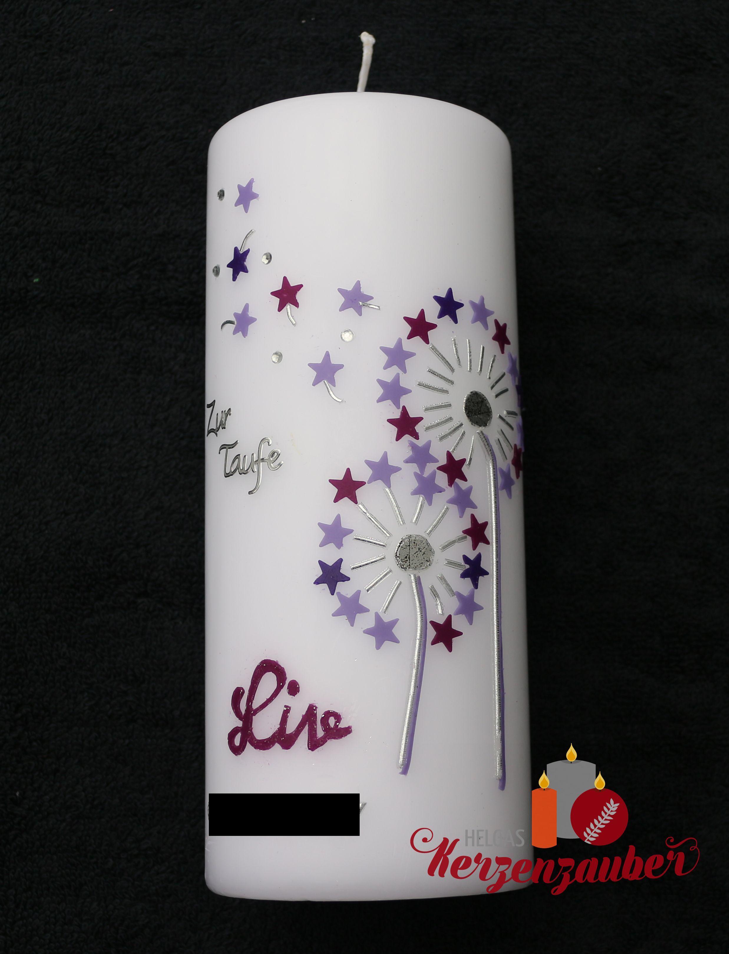 Zwei Pusteblumen in lila 32 50 € 20 7cm Taufkerze