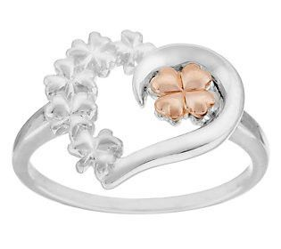 Solvar Sterling Silver & Gold Plated Heart Shamrock Ring Size 9 J287483